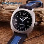 PN1205-6 戶外運動必備男士閃亮銀五金加厚帆布縫真皮進口石英腕錶
