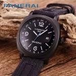 PN1205-9 戶外運動必備男士槍色五金加厚帆布縫真皮進口石英腕錶