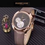 PARMIGIANI-08-5 新款Tonda Metrographe土豪金配褐色多功能計時進口石英腕錶