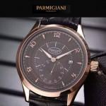PARMIGIANI-04-7 全新男士土豪金配褐底316精鋼錶殼進口石英腕錶
