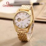 OMEGA-178-11 商務男士鏤空設計土豪金配白底316精鋼錶殼全自動機械腕錶