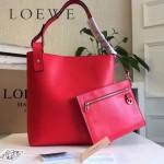 LOEWE 0239-03 潮流時尚新款Asymmetric bag系列進口原版細紋牛皮中號水桶包