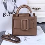 Boyy-01-3 潮人街拍款Bobby 23咖色原版皮大方扣皮帶手提包