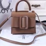 Boyy-03-6 潮流百搭新款lucas咖色原版皮大方扣皮帶手提單肩包