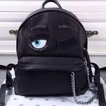 Chiara Ferragni-01 米蘭時尚博主眨眼睛設計黑色大號雙肩包書包