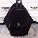 Manu Atelier-01-5 潮流新款Fernweh黑色鹿皮絨單肩包雙肩包書包