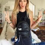 Chiara Ferragni-02 米蘭時尚博主眨眼睛設計黑色中號雙肩包書包