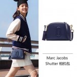 Marc Jacobs-01 歐陽娜娜袁姍姍同款shutter藍色牛皮單肩斜挎包相機包