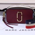 Marc Jacobs-02-2 春夏新款snapshot棗紅色拼色原版皮吉他背帶相機包