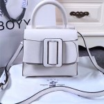 Boyy-03-4 潮流百搭新款lucas白色原版皮大方扣皮帶手提單肩包