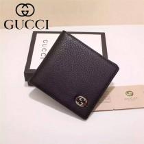 GUCCI 365465 時尚精英男士黑色全皮雙Glogo兩折錢包