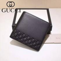 GUCCI 256408 潮流新款黑色全皮拼壓小花兩折短款錢包