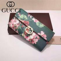 GUCCI 369663-8 名媛必備天竺葵系列綠色配PVC搭扣長款錢包