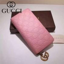 GUCCI 409392-5 潮流新款女士粉色全皮壓花長款拉鏈錢包