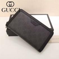 GUCCI 409208 新款商務男士黑色牛皮配PVC長款拉鏈錢包手拿包