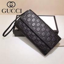 GUCCI 309651 新款男女通用黑色全皮壓花多功能四件套長款錢包手拿包