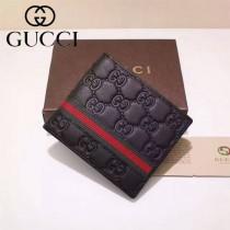 GUCCI 365691 人氣熱銷男士黑色全皮壓花配紅綠織帶兩折錢包