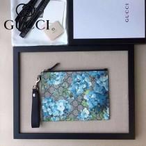 GUCCI 429225-3 時尚人氣新款天竺葵系列藍色牛皮配PVC大容量手拿包