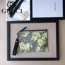 GUCCI 429225-4 時尚人氣新款天竺葵系列黑色牛皮配PVC大容量手拿包