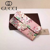 GUCCI 369663-9 名媛必備天竺葵系列粉色配PVC搭扣長款錢包