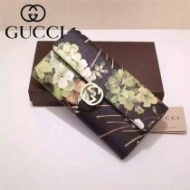 GUCCI 369663-7 名媛必備天竺葵系列黑色配PVC搭扣長款錢包