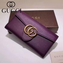 GUCCI 400568-4 人氣新款女士紫色摔紋牛皮搭扣長款錢包