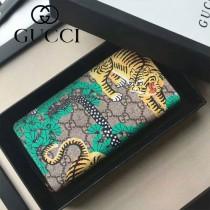 GUCCI 451168-2 專櫃新款女士老虎塗鴉印花長款拉鏈錢包