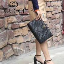 GUCCI 443550-2 人氣熱銷女士黑色全皮大容量手拿包收納包