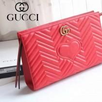 GUCCI 443550-3 人氣熱銷女士紅色全皮大容量手拿包收納包
