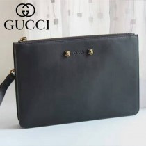 GUCCI 433665-2 歐美新款男女款虎頭設計黑色全皮商務手拿包