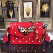 GUCCI 443168 時尚復古風珍珠小蜜蜂系列紅色全皮單肩斜挎包