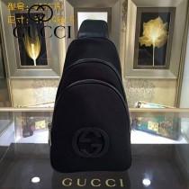 GUCCI 453575-3 潮流新款男女通用黑色帆布配皮休閒胸包挎包