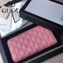 GUCCI 438296-2 時尚女士新款粉色全皮壓花長款拉鏈錢包