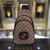 GUCCI 453575-2 潮流新款男女通用咖啡色帆布配皮雙拉鏈胸包挎包