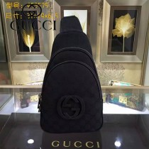 GUCCI 453575 潮流新款男女通用黑色帆布配皮雙拉鏈胸包挎包