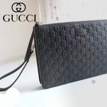 GUCCI 433665 歐美新款男女款黑色全皮壓花商務手拿包