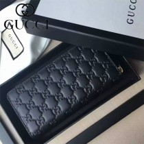 GUCCI 438296 時尚女士新款黑色全皮壓花長款拉鏈錢包