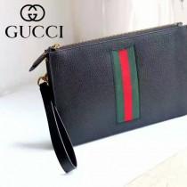 GUCCI 433665-3 歐美新款男女款黑色全皮配紅綠織帶商務手拿包