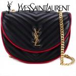 YSL 399298 專櫃新款女士黑色原版小羊皮單肩斜挎包