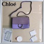 CHLOE 04-8 明星高圓圓同款faye薰衣草紫色原版皮中號單肩斜挎包
