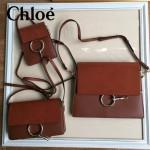 CHLOE 04-9 明星高圓圓同款faye棕紅色原版皮中號單肩斜挎包