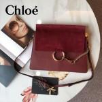CHLOE 09 時尚高圓圓同款Faye棗紅色原版皮單肩斜挎包