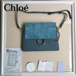 CHLOE 09-2 時尚高圓圓同款Faye灰藍色原版皮單肩斜挎包