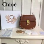CHLOE 08-3 明星劉雯同款drew bag土黃色原版皮鏈條中號小豬包