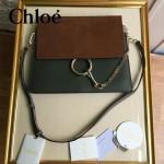 CHLOE 09-11 時尚高圓圓同款Faye墨綠色原版皮單肩斜挎包