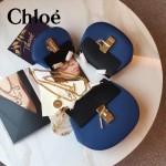 CHLOE 019-15 時尚經典款女士黑配藍原版皮小號鏈條小豬包