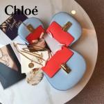 CHLOE 019-17 時尚經典款女士天藍色原版皮小號鏈條小豬包