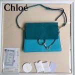 CHLOE 09-7 時尚高圓圓同款Faye孔雀藍原版皮單肩斜挎包