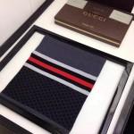 GUCCI圍巾-15 潮流時尚款高級羊毛黑色配藍色男士圍巾