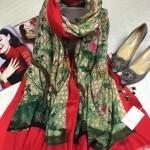 GUCCI圍巾-20 專櫃爆款鳥語花香天竺葵印花羊絨圍巾